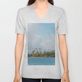 Palm trees and blue sky  - Tropical summer landscape Unisex V-Neck