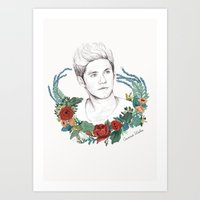 niall Art Prints featuring Niall  by Coconut Wishes