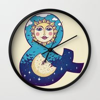 sun and moon Wall Clocks featuring sun loves moon by Lidija Paradinović Nagulov - Celandine