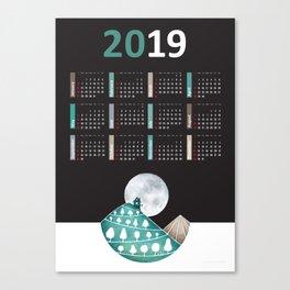 Calendar 2019, landscape black Canvas Print