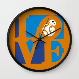 Robot LOVE - Orange Wall Clock