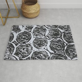 Rosettes Abstracted Black and White Rug