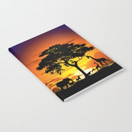 Wild Animals on African Savanna Sunset Notebook