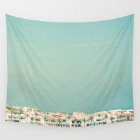 skyline Wall Tapestries featuring Mediterranean Skyline by Cassia Beck