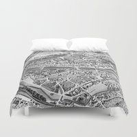 switzerland Duvet Covers featuring Vintage Map of Zurich Switzerland (1850) by BravuraMedia
