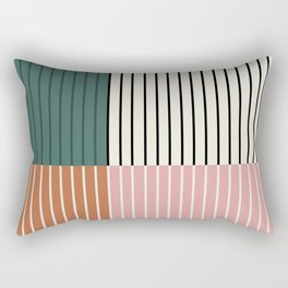 Color Block Lines Abstract V Rectangular Pillow