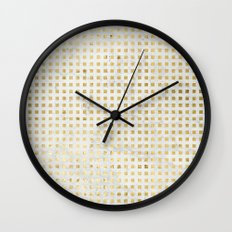 gOld squares Wall Clock