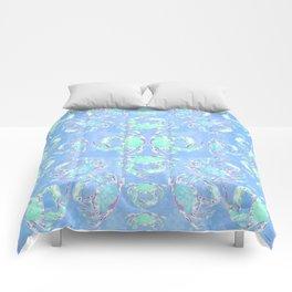 Watercolor blue crab Comforters