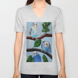 Spinach Tree Parakeet Painting Unisex V-Neck