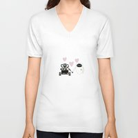 pixar V-neck T-shirts featuring pixar walle and eve love and romance... minimalistic by studiomarshallarts