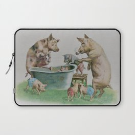 Mummy and Daddy pig washing their piglets Laptop Sleeve