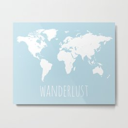 World Map - Wanderlust Quote - Modern Travel Map in Light Blue With White Countries Metal Print