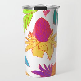 Tropical Ginger Plants in Pink + White Travel Mug