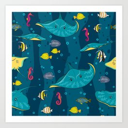 Decorative seamless pattern with sea fish on blue background. Art Print