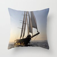 sailboat Throw Pillows featuring sailboat by laika in cosmos