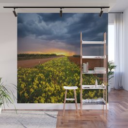 Yellow Flower Road - Path of Wildflowers Lead Into Texas Sunset on Stormy Evening Wall Mural