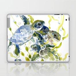 Turtle Baby Sea Turtles, underwater scene olive green, green indigo blue children Laptop & iPad Skin