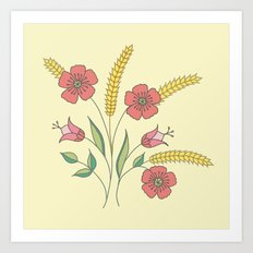 Floral placement on beige Art Print