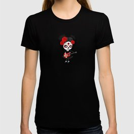 Day of the Dead Girl Playing Danish Flag Guitar T-shirt