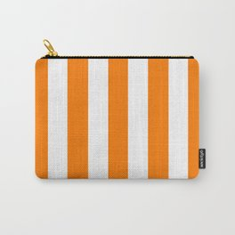 Heat Wave orange - solid color - white vertical lines pattern Carry-All Pouch