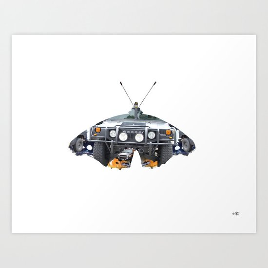 Butterfly Hummer Collage Art Print
