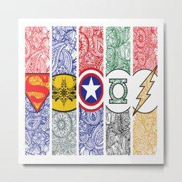 Superhero Zentangel Logos Metal Print