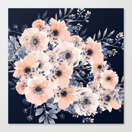 Festive, Floral Watercolor Print, Navy and Pink Canvas Print