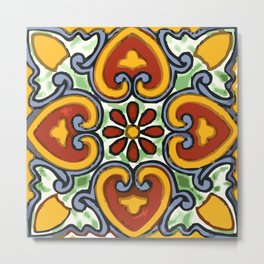 Talavera Mexican tile inspired bold design in green, gold, red and blue Metal Print