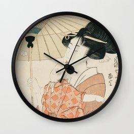 Prayers for Rain by Kitagawa Utamaro Wall Clock