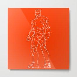 Iron man red orange background Metal Print