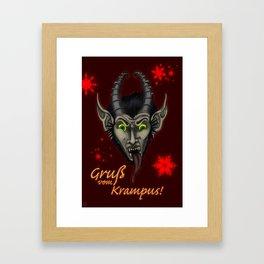 Red Krampuskarten Framed Art Print