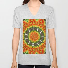 Kaleidoscopic Orange Garden Gazanias Unisex V-Neck