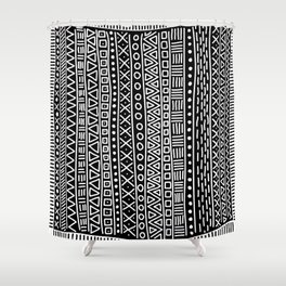 Black white hand painted geometrical aztec pattern Shower Curtain