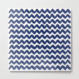 Navy Brushstroke Chevron Pattern Metal Print