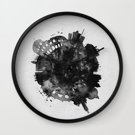Rome, Italy Black and White Skyround / Skyline Watercolor Painting Wall Clock
