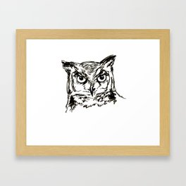 Owl Sketch (Black & White) Framed Art Print