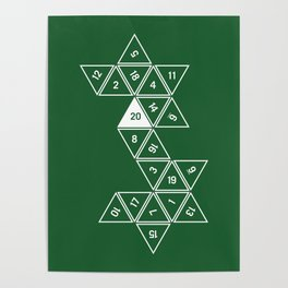 Green Unrolled D20 Poster