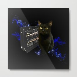 Space Cat with Synthesizer 2 Metal Print