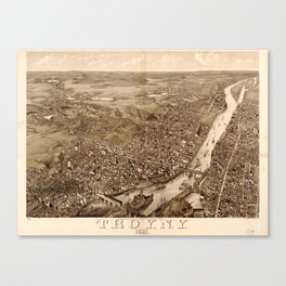 Vintage Pictorial Map of Troy NY (1881) Canvas Print