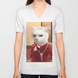 Gambler Cat Unisex V-Neck