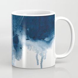 Where does the dance begin? A minimal abstract acrylic painting in blue and white by Alyssa Hamilton Coffee Mug