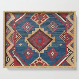 Vintage Woven Kilim II // 19th Century Colorful Royal Blue Yellow Authentic Classic Ornate Accent Pa Serving Tray