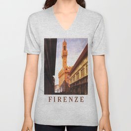Vintage Florence Italy Travel Unisex V-Neck