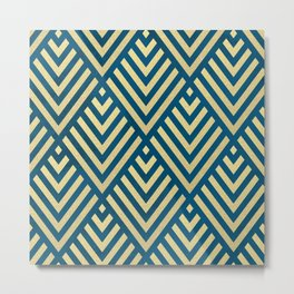 ROMBI GOLD & BLUE Metal Print