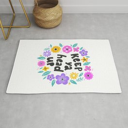 Keep your head up - hand drawn quotes illustration. Funny humor. Life sayings. Rug