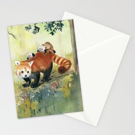 Red Panda Family Stationery Cards