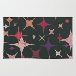 Purple, Red, Pink and White Stars in Dark Green Rug