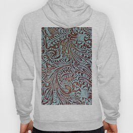 Light Blue & Brown Tooled Leather Hoody
