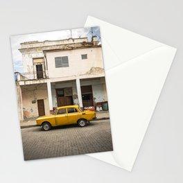 Bright yellow vintage car in La Havana, Cuba. Stationery Cards