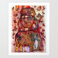 elephants Art Prints featuring Elephants by oxana zaika